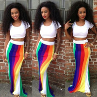 White Cropped T-shirt and Multi Color Maxi Skirt