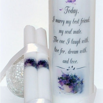 Wedding Unity Candle, wedding candles, marriage candle, wedding unity set, unity candle set, 3 x 9, wedding couple gift, personalized candle