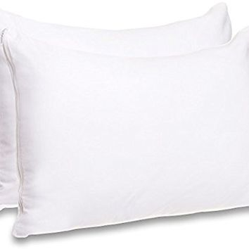 Mellanni Cotton Pillow Cases w/Zipper - Set of 2 Standard Pillow Covers, Protectors for Allergy Relief 20 x 30 Inches (2-Pack Queen, White)