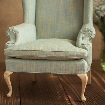 1/4 scale Doll Wingback Chair with wood cabriole legs, Pale Green Linen Upholstery, Pistachio Green, BJD Furniture, Furniture for dolls