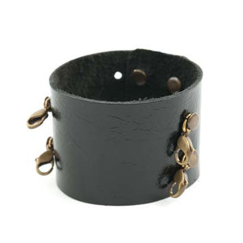Black Wide Leather Cuff - Lenny and Eva