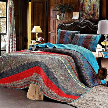 Moroccan Festival Cotton 3-PC Paisley Boho Reversible Quilt Set