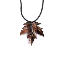 Wood Jewelry, Wood Leaf Necklace, Wood Necklace, Wood Pendant, Leaf Pendant, Hand Carved Pendant, Carved Leaf Necklace, Wood Carved Pendant