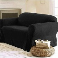 Sofa / Couch Cover Slipcover 3 Pc. Set = Sofa + Loveseat + Chair Covers / Slipcovers 3 Pcs SET Stripe Jacquard Fabric Black