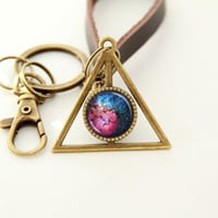 Nebula Key Chain, Galaxy Key Chain- Trifid Nebula, M20- Leather Chain Brass Planet Pendant Key Chain