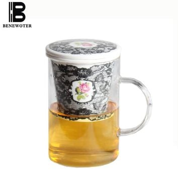 450ml Creative Black Lace Rose Pattern Glass Mug with Ceramic Bone China Filter Coffee Cup for Water Milk Tea Mug Drinkware