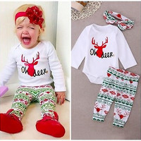 new deer Christmas infant toddler kids children Newborn Baby Girls Tops Romper Pants Legging Headband Outfits 3PCS clothes Set