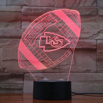 Kansas City Chiefs Rugby 3D Lava Lamp Creative 7 Color Changing LED Night Light Gifts Bedroom Table Lamp 3D-905