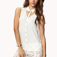 Cutout Lace Yoke Shirt | FOREVER 21 - 2028280496