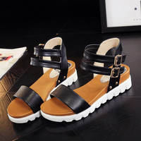 Gamiss Double Buckle Strap Leather Sandals summer gladiator sandals