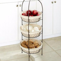 Basket Rustic 3 Tier Country Decor Chicken Wire Fruit Veggies Pantry Storage NEW