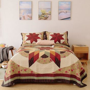 CHAUSUB Vintage Handmade Patchwork Quilt Set 3PCS Bedding Cotton Quilts Quilted Bedspread Cover Bed Sheets King Size Coverlets