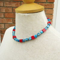 Lace Agate and Coral Necklace, Blue Lace Agate and Red Coral Necklace, Blue and Red Short Necklace