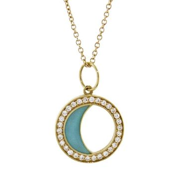 Turquoise Enamel Waxing/Waning Gibbous Moon Phase Necklace