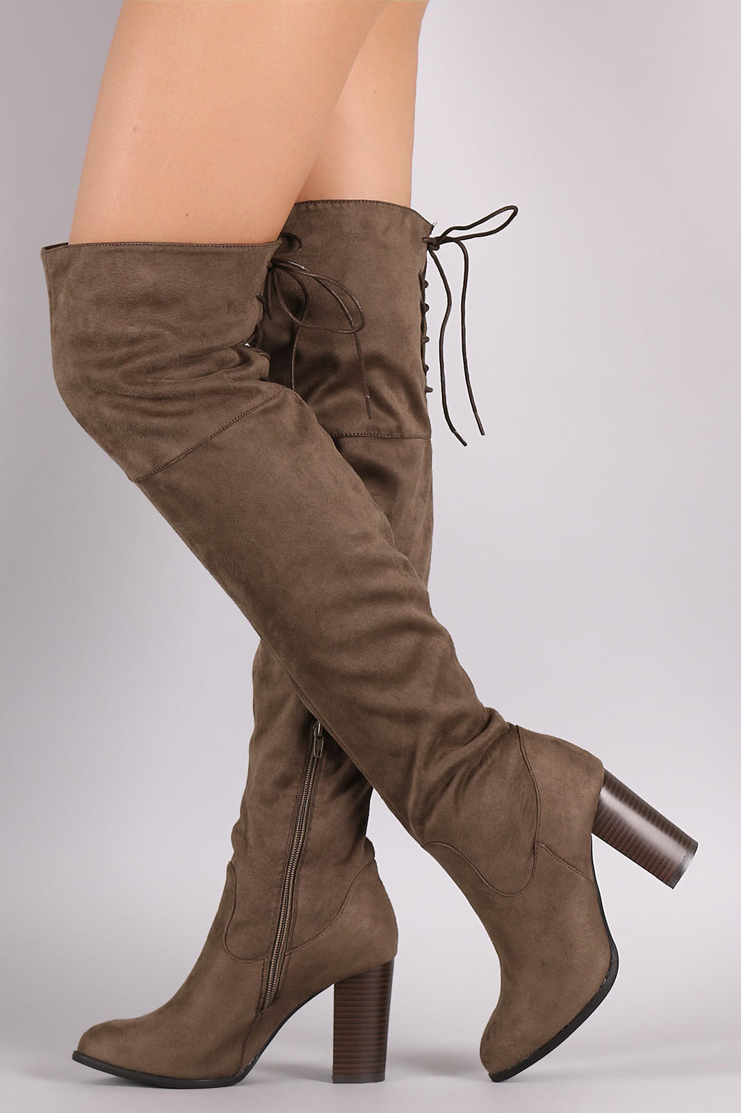 8231dc3e6d5 Qupid Suede Back Lace-Up Chunky Heeled from LoveStruck Boutique