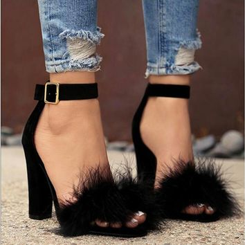 Chunky Heel Fur Front Sandals 2 Colors