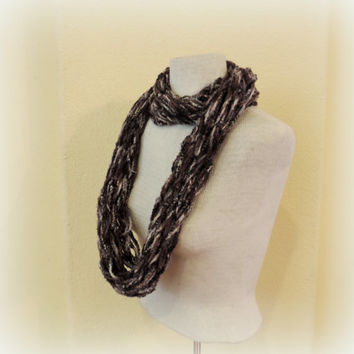 Knitted infinity scarf, gray black brown  knitted scarf, Long hand knitted scarf, loop scarf, knitted scarves, long winter scarf