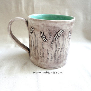 Pottery Mug, Ceramic coffee cup, Dragonfly design, Celadon color, 16 oz, hand crafted