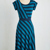 Nautical Long Cap Sleeves A-line An Afternoon With You Dress in Blue