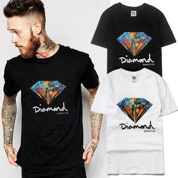 Hip-hop Print diamond Short Sleeve T-shirts [9910454147]