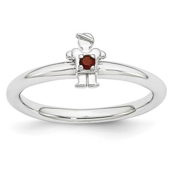 Rhodium Plated Sterling Silver Stackable Garnet 7mm Boy Ring