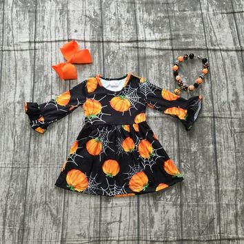 Fall/winter Halloween dress baby girls long sleeves black pumpkin web milk silk clothing boutique kids wear match accessories