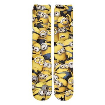 YX GIRL Despicable Minions Harajuku Funny Ankle Sock Men's 3D Socks Men/Women Crew Socks Print Casual Thick Socks Drop Shipping