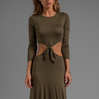 Naven Casuals Long Sleeve Knotted Maxi Dress in Army