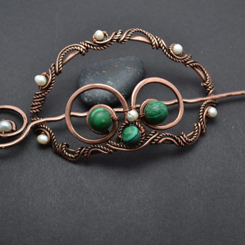 Malachite French Barrette Mother's Day gift Wire Hair Accessories  Brooch Pin, hair accessories for women, hair clip barrette, hair stick