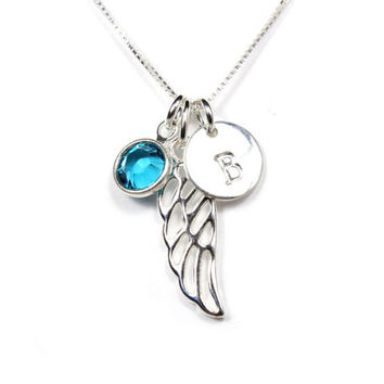 Guardian angel wing with letter initial and Swarovski birthstone necklace, personalized gift, sterling silver necklace memorial remembrance