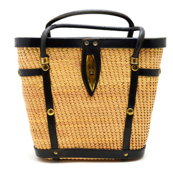 Vintage Straw And Black Leather Purse With Gold Tone Metal Studs