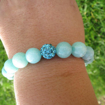 Aquamarine Yoga Bracelet, Women's Beaded Gemstone Bracelet, Women Meditation Bracelet, Agate Bracelet, Boho Stacking Bracelet