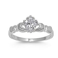 .925 Sterling Silver Claddagh Ring with Clear Color Cz Heart Stone Size 4,5,6,7,8,9,10; Comes with Free Gift Box(7)