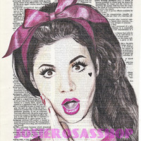 Marina and the Diamonds Bow Headband Vintage Dictionary Fan Art Room Decor Poster