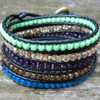 Beaded Leather 5 Wrap Bracelet with Colorful Gold Blue Green and Purple Beads on Black Leather