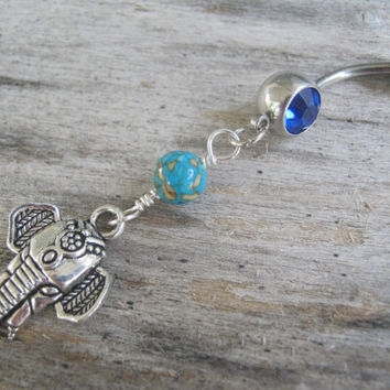 Turquoise Elephant Belly Ring, Blue Belly Button Ring, Birthstone Navel Piercing, India Hindu Body Jewelry, Buddhist Elephant Body Jewelry