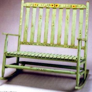 The Well Appointed House by Melissa Hawks. Hand Painted Countryside Rocking Bench
