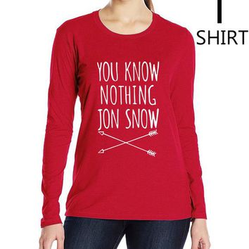 """Red """"You Know Nothing Jon Snow"""" Women's long sleeve T shirts"""