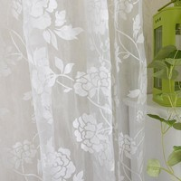 Urijk European White Embroidered Flower Voile Curtains for the Bedroom Sheer Curtains for Living Room Tulle Window Curtains