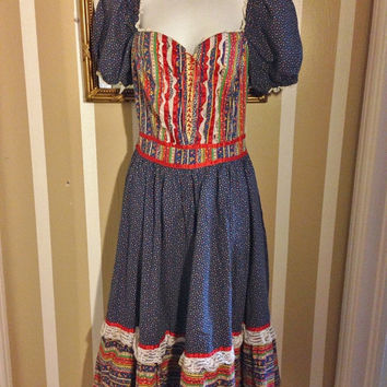 Gunne Sax Style Hippie Calico 70's Floral Lace Prairie Country Boho Dirndel Alpine Dress MEDIUM