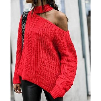 One Shoulder Twist Knitted Pullover Sweater