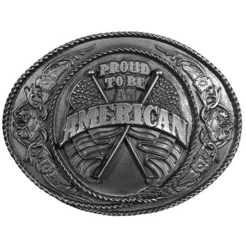 Sports Accessories - Proud to be an American Antiqued Belt Buckle