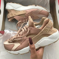 """NIKE"" Women Casual Huarache Running Sport Shoes Sneakers Golden"