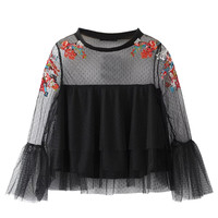 Black Embroidery Sheer Mesh Layered Flared Sleeve Blouse