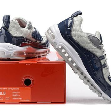 nike air max 98 supreme men sport casual fashion multicolor stitching patent leather air cushion running shoes sneakers