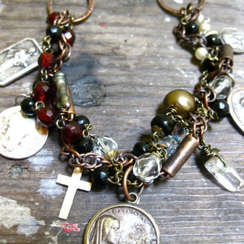 Rosary Necklace Chunky Bib with Vintage Medals