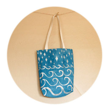 Cerulean Blue Tote Bag- cotton and linen tote with hand printed stars and waves in silver ink