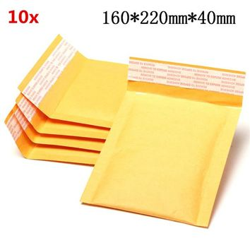 10pcs 160*220mm+40mm Bubble Envelope Yellow Color Kraft Paper Bag Mailers Envelope