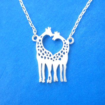 Kissing Giraffe Animal Shaped Silhouette Charm Bracelet in Silver | DOTOLY