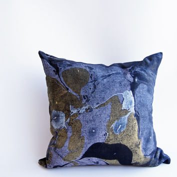 "18"" Hand Inked Pillow,  Black Shimmer"